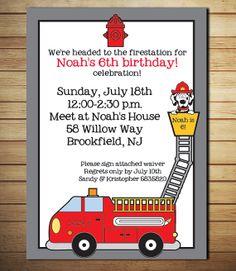 Firetruck Birthday Invitation - Firehouse Party - Dalmatian - Printable on Etsy, $12.00