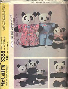 Stuffed Bear Family Toy Set Clothes Sock Toy 3358 McCalls Sewing Patterns Uncut | eBay