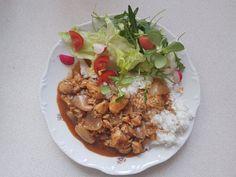 tandoori csirke Chana Masala, Fried Rice, Meat Recipes, Fries, Coaching, Chicken, Ethnic Recipes, Fitness, Training