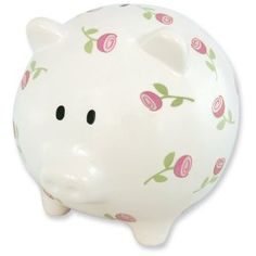 Extra Large Ceramic Rose Piggy Bank