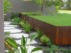 perth steel retaining wall with contemporary grill tools and accessories landscape industrial lawn gravel Steel Retaining Wall, Backyard Retaining Walls, Concrete Retaining Walls, Modern Landscaping, Front Yard Landscaping, Landscaping Trees, Contemporary Outdoor Wall Art, Metal Wall Planters, Exterior Stairs