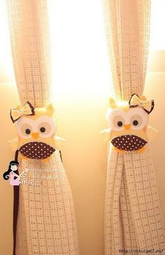 Owl curtain tie backs Owl Crafts, Diy And Crafts, Arts And Crafts, Felt Owls, Felt Animals, Sewing Crafts, Sewing Projects, Crochet Patron, Owl Always Love You