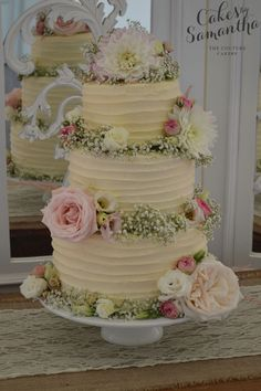 Jackie- 'Nearly Naked' Wedding Cake with Rustic Buttercream and fresh flowers. http://www.cakesbysamantha.co.uk