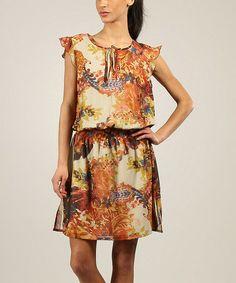Look what I found on #zulily! Orange Floral Angel-Sleeve Dress #zulilyfinds