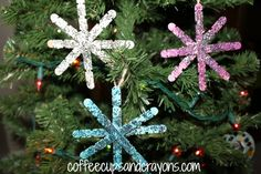 Homemade Snowflake Craft Stick Ornaments