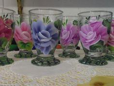 Verres peints à la main, peinture sur verre déco one stroke - Création originale unique
