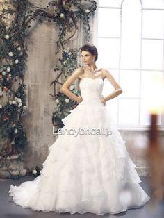 ウエディングドレス プリンセス ハートネック チャペルトレーン B12061 価格 ¥86,100