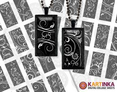 Instant Download BLACK WHITE ORNAMENT - 1x2 inch Dominos Digital Collage Sheet - Printable Download - for resin glass pendants magnets