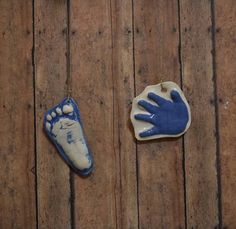 Raised Ceramic Handprint Ornament Kit To Go In vintage blue on Natural Cording. Personalized Keepsake for babies - Great Shower Gift! Model Magic, Handprint Art, Kids Hands, Ceramic Clay, Baby Prints, Footprint, Gifts For Family, Twine, Kit