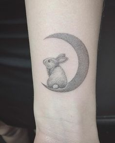 Dotwork rabbit on crescent moon by East Iz