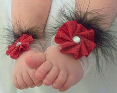 Red and Black Baby Barefoot Sandals with Faux by FancyFunctional, $13.00
