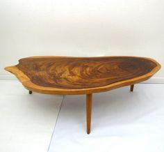 Vintage Mid Century Coffee Table Hawaiian Koa Wood by AustinModern, $325.00