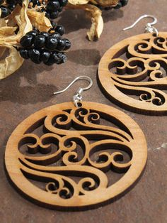 Items similar to Filigree Earrings - Laser Cut Wooden Hoops - Sustainable Harvest Wisconsin Wood . Timber Green Woods on Etsy Trotec Laser, Laser Art, Laser Cut Wood, Laser Cutting, Filigree Earrings, Wooden Earrings, Wooden Jewelry, Cnc, Laser Cutter Projects