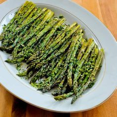 Easy and Amazing Roasted Asparagus with Gremolata; this is a perfect #LowCarb and #Paleo side dish for any kind of special meal, and it's delicious!  [from KalynsKitchen.com]