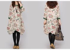 M~XXL QUIRKY IRREGULAR HEM PLUS SIZE FLORAL LINEN DRESS LADIES LOOSE FLAX  TUNIC #JKFashion #Tunic #Casual Kimono Top, Tunic, Plus Size, Lady, Floral, Casual, Summer, Tops, Dresses