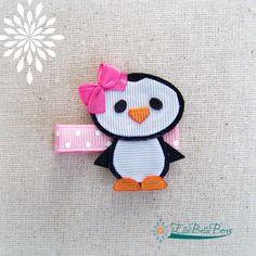 Penguin Ribbon Sculpture Hair Clip Bow on head by EllaBellaBowsWI, $8.00