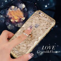 For iPhone7 Luxury 3D Rhinestone Flower Soft TPU Plating Glitter Phone Case For Apple iPhone 7 Plus Ring Holder Stand Back Cover