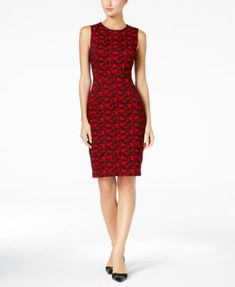 Calvin Klein Printed Sheath Dress, Regular & Petite Sizes - Red 10