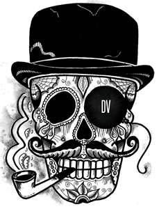 Gentlemen Sugar Skull Tattoo Design Pencil  Ink A4 Size
