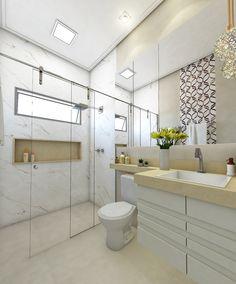 Banheiro de Casal em suíte. Tons Claros e elegante.