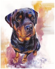 "Rottweiler Watercolor Giclee Fine Art Print 8x10"" [Watercolor Dog Portrait…"