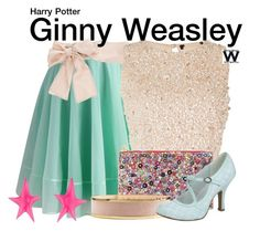 """Harry Potter"" by wearwhatyouwatch ❤ liked on Polyvore featuring Chicwish, Valentino, Lace & Beads, Forest of Chintz, Balmain, Ruby Shoo, Alexis Bittar, wearwhatyouwatch and film"