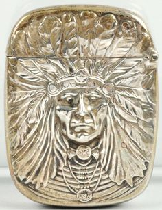 """March 30th Auction. Indian Chief Silver Match Safe. """"Unger Bros."""" Sterling silver. Fantastic detail. A beautiful match safe. #Tobacciana #MatchSafe #MorphyAuctions"""
