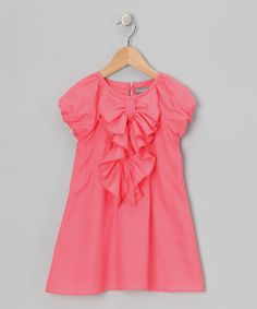This Coral Ruffle Bow Dress - Toddler & Girls is perfect! #zulilyfinds