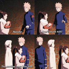 "he is so excited to be a dad. and when he says to kushina ""thank you"" for giving birth to naruto, i lose it every time. Naruto And Sasuke, Anime Naruto, Naruto Cute, Naruto Shippuden, Anime Manga, Anime Meme, Boruto, Naruhina, Shikatema"