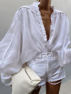 All White Outfit, White Summer Outfits, White Blouse Outfit, White Outfits For Women, Spring Summer Fashion, Autumn Fashion, Trendy Outfits, Fashion Outfits, Fashion Blouses