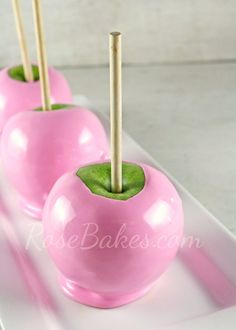 #Pink Cotton Candy Flavored #CandyApples // RoseBakes.com {cute for a birthday party or baby shower}