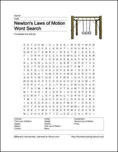 Newton´s law wordsearch