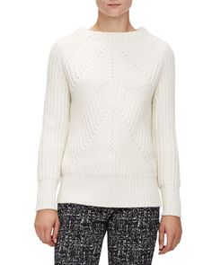 B315D Burberry London Ribbed Transfer Jewel-Neck Sweater, Natural White