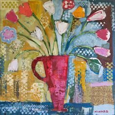 Patchwork Flowers 48x48  - Mixed Media - SOLD