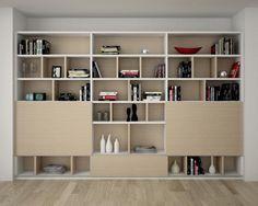 Kastenwand in woonkamer kan ook twee dichte kastjes hebben? Uitvoering ...