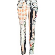Balmain Printed low-rise skinny jeans ($885) ❤ liked on Polyvore featuring jeans, pink, balmain, ankle zip jeans, pink skinny jeans, ankle zip skinny jeans and balmain jeans