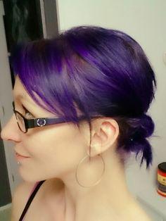 Violet blue hair Updo short hair