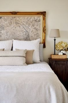 Paris Map as headboard! Gorgeous bedroom with vintage map in gold ornate frame headboard, . Home Bedroom, Bedroom Decor, Master Bedroom, Bedroom Ideas, Bedroom Inspiration, Map Bedroom, Bedroom Designs, Design Inspiration, Design Ideas