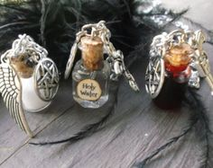 Supernatural inspired necklace set of 3. Protection, Holy water, demon blood