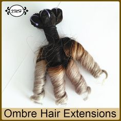 "Find More Human Hair Extensions Information about 10""inch Brazilian Spring Curl Virgin Hair Black Grey Ombre Hair Bundles 10Pcs/500G Best Ombre Human Hair Extensions 50g/Pc,High Quality best bundles,China best hair bundles Suppliers, Cheap hair bundles from Juancheng County Xingmao Crafts Co., Ltd. on Aliexpress.com"