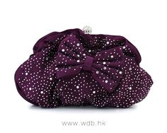 Chic Plain Rhinestone Bow embellished Convertible Small Clutches, Single Deck $21.99
