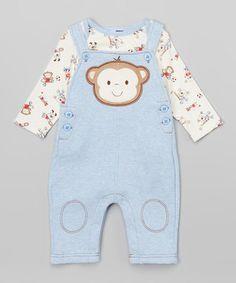 Blue Monkey Bodysuit & Overalls - Infant