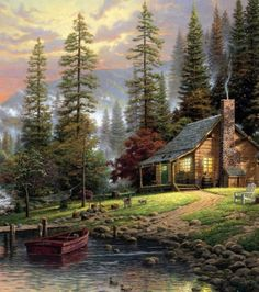 """Cabin By The Lake Waterproof 60 x 72"""" Shower Curtain (Hooks Included)"""