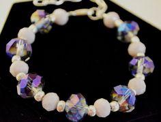Purple and Silver Crystal Beaded Bracelet by ImCrazyForCraftin, $17.00