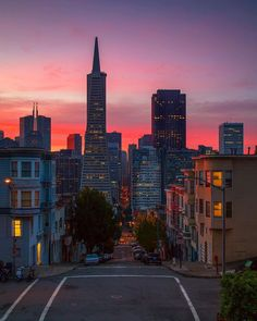 photographic print san francisco downtown at sunrise night