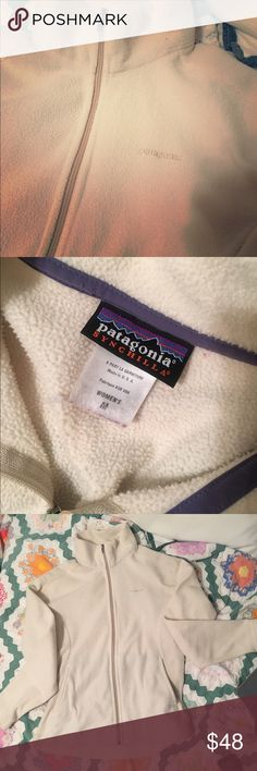 Cream Patagonia Fleece Zippered Jacket 🔮Ultrasoft microfleece is quick-drying 🔮Fabric is 100% Polyester (exclusive of trim)  🔮Full-zip jacket with zip-through, stand-up double fleece collar 🔮Clean-finish on hem and cuffs 🔮Pre-Owned & Pre-❤️'d (Price Reflects) Patagonia Jackets & Coats