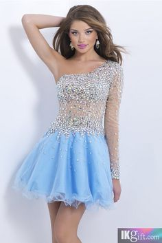 Amazing V Neck Tulle and Beading One Shoulder Homecoming Dresses