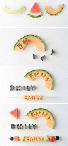 Letters on fruits