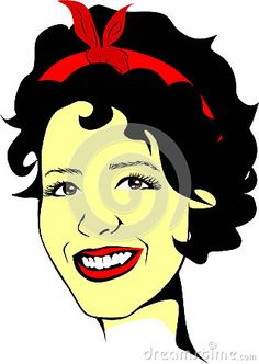 Colored Vector drawing of a fictional woman with brown eyes and red scarf in her hair.