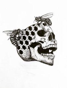 Gothic Drawings, Skeleton Drawings, Skeleton Tattoos, Sugar Skull Tattoos, Cool Drawings, Hexagon Tattoo, Blackwork, Bee Drawing, Deep Art